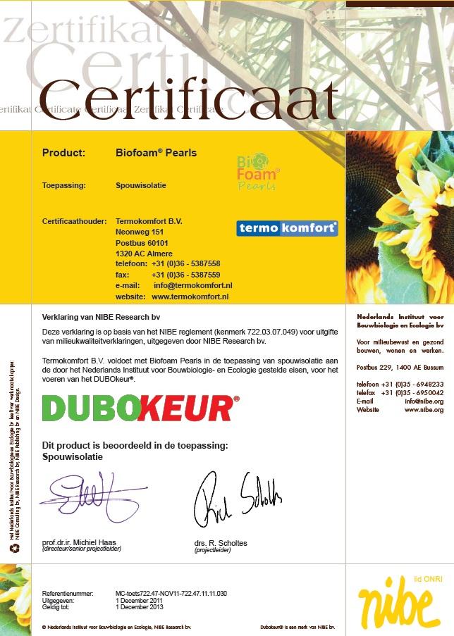 DUBOKEUR Certificaat BiofoamPearls